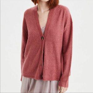 American Eagle Slouchy Sweater Cardigan Blush Pink